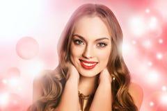Girl on pink bokeh background Stock Photos