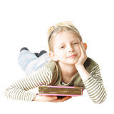 Girl with pink book Stock Images