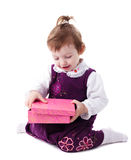 Girl with pink box Royalty Free Stock Photo