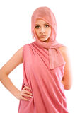 Girl in pink clothes royalty free stock photos