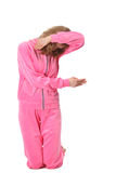 Girl in pink clothes represents  letter f Royalty Free Stock Images