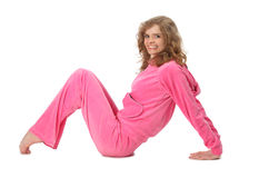 Girl in pink clothes represents  letter m Royalty Free Stock Image