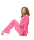 Girl in pink clothes represents  letter n Royalty Free Stock Photo