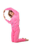 Girl in pink clothes represents  letter q Stock Photo