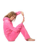 Girl in pink clothes represents  letter r Royalty Free Stock Images