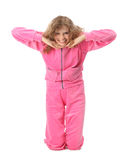 Girl in pink clothes represents  letter t Royalty Free Stock Photography