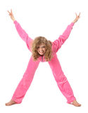 Girl in pink clothes represents letter x. Girl in pink sport clothes represents letter X on white background royalty free stock photos