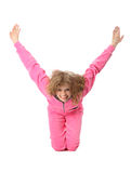 Girl in pink clothes represents letter y. Girl in pink sport clothes represents letter Y on white background stock image