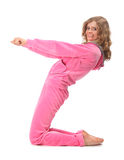 Girl in pink clothes represents  letter z Stock Photos