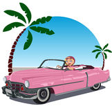 Girl in pink convertible car from the 50 stock illustration