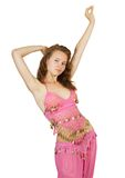 Girl in  pink costume dancing Stock Photography