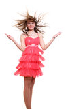 Girl in pink dress Stock Images
