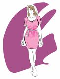 Girl in pink dress. Linear sketch in black and withe of a young woman girl in pink dress Royalty Free Illustration