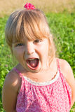 Girl in a pink dress cries. Funny girl in a pink dress on the nature Royalty Free Stock Image
