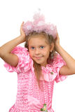 Girl in a pink dress with a crown Stock Photos