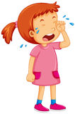 Girl in pink dress crying Stock Image