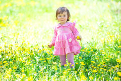 Girl in pink dress with dandelion on green grass. Stock Image