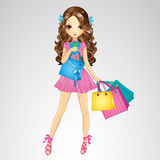 Girl In Pink Dress Do Shopping Stock Photo