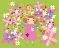 Girl in pink dress and flowers. Vector graphic card with nice little girl among pink flowers Royalty Free Stock Photo