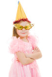 A girl in a pink dress with glasses and hat Royalty Free Stock Photography