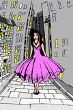 Girl in pink dress goes at night. City Stock Photos