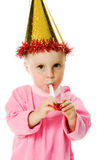 Girl in pink dress and a hat on his birthday Royalty Free Stock Photography
