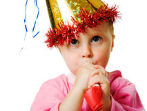 Girl in pink dress and a hat on his birthday Stock Photo