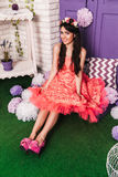 Girl in a pink dress in the interior Royalty Free Stock Photos