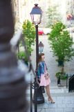 Girl in pink dress on Montmartre in Paris Royalty Free Stock Photos
