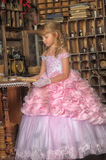 Girl in a pink dress Stock Image