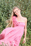 Girl in the pink dress with roses Royalty Free Stock Images