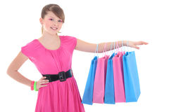 Girl in pink dress after shopping over white Royalty Free Stock Photos