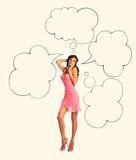 Girl in pink dress showing sign speech bubble banner looking happy Royalty Free Stock Photography