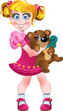 Girl in pink dress and teddy bear isolated on a wh Royalty Free Stock Image