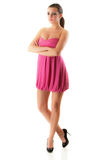Girl in pink dress to utmost Stock Images