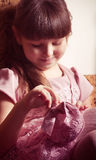 Girl in pink dress in vintage style Royalty Free Stock Image
