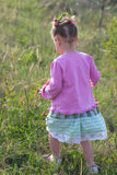 Girl in a pink dress walking on meadow of grass and flowers Royalty Free Stock Photos