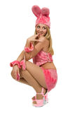Girl in pink fancy dress. The beautiful girl in pink fancy dress of a hare Royalty Free Stock Photography