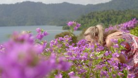 Girl in Pink Flowers stock video footage