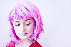 Girl with pink hair Royalty Free Stock Photos