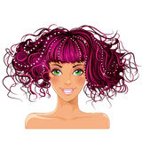 A girl with pink hair and green eyes.  vector illustration