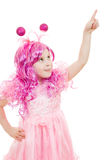 A girl with pink hair in a pink dress Royalty Free Stock Image