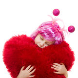 A girl with pink hair and a pink dress Royalty Free Stock Image