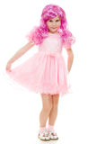 A girl with pink hair in a pink dress Royalty Free Stock Photo
