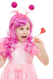 A girl with pink hair in a pink dress Stock Image