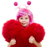 A girl with pink hair and a pink dress Stock Photos