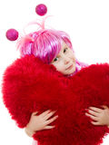 A girl with pink hair and a pink dress Royalty Free Stock Photography