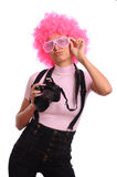 Girl with pink hairs Stock Image