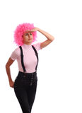 Girl with pink hairs Stock Photo