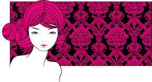 Girl with pink hairs Royalty Free Stock Images